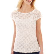 Liz Claiborne® Short-Sleeve Lace Tee with Cami