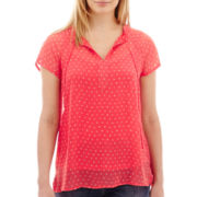 Liz Claiborne® Short-Sleeve Tie-Neck Print Peasant Blouse - Tall
