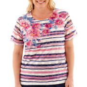 Alfred Dunner® Bon Voyage Short-Sleeve Floral Striped Knit Top - Plus