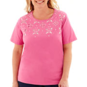 Alfred Dunner® Bon Voyage Short-Sleeve Embroidered Cutout Knit Top - Plus