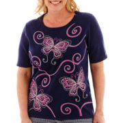 Alfred Dunner® Bon Voyage Butterfly Embroidered Sweater - Plus