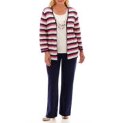 Alfred Dunner® Bon Voyage Pointelle Biadere Layered Sweater or Solid Pants- Plus