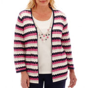 Alfred Dunner® Bon Voyage 3/4-Sleeve Pointelle Biadere Layered Sweater- Plus