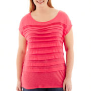 Liz Claiborne® Short-Sleeve Boatneck Tiered T-Shirt - Plus