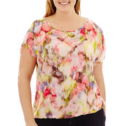 Liz Claiborne® Short-Sleeve Banded Blouse with Cami - Plus