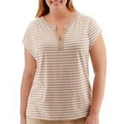 Liz Claiborne® Short-Sleeve Striped Henley Top - Plus