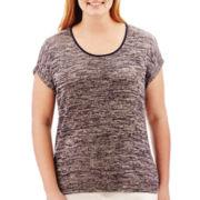 Liz Claiborne® Short-Sleeve Marled Top - Plus