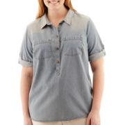 Liz Claiborne® Elbow-Sleeve Roll-Tab Denim Shirt - Plus