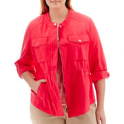 Liz Claiborne® Cropped Anorak Jacket - Plus