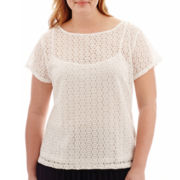 Liz Claiborne® Short-Sleeve Lace Top with Cami - Plus