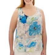 Liz Claiborne® Sleeveless Print Top - Plus