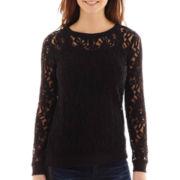 a.n.a® Lace Sweatshirt - Tall