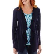 St. John's Bay® Knit Layered Flyaway Cardigan - Tall