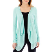 a.n.a® Long-Sleeve Chiffon Trim Open Cardigan