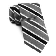 JF J. Ferrar® Heather Striped Tie and Tie Bar Set - Extra Long