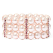 Vieste® Pink Simulated Pearl and Crystal Silver-Tone 3-Row Stretch Bracelet