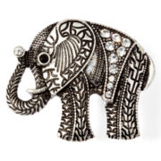 Decree® Silver-Tone Elephant Stretch Ring