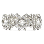 Liz Claiborne® Crystal-Accent Silver-Tone Flower Stretch Bracelet
