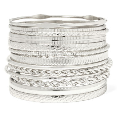 jcpenney.com | Liz Claiborne® Silver-Tone Textured Bangle Set