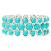 Liz Claiborne® Silver-Tone Aqua Stretch Bracelet