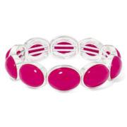 Liz Claiborne® Magenta Stone Silver-Tone Stretch Bracelet