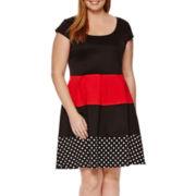 R&K Originals® Short-Sleeve Colorbock Fit-and-Flare Dress