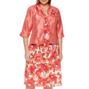 Maya Brooke 3/4-Sleeve Shantung Jacket Dress