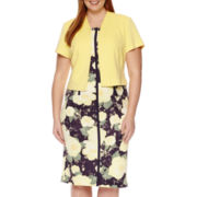 Maya Brooke Short-Sleeve Floral-Print Jacket Dress - Plus