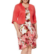 Maya Brooke 3/4-Sleeve Floral-Print Jacket Dress - Plus