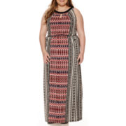 London Style Collection Sleeveless Keyhole Blouson Maxi Dress - Plus