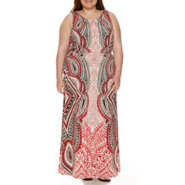 jcpenney.com | London Style Collection Sleeveless Pleat-Neck Blouson Maxi Dress