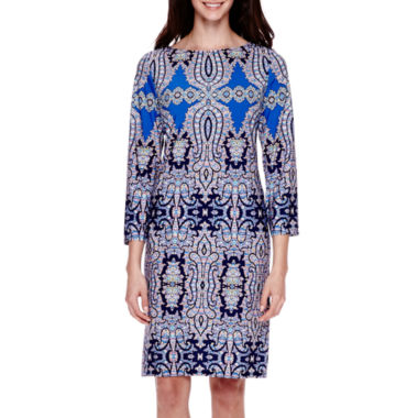 jcpenney.com | London Style Collection Long-Sleeve Medallion Sheath Dress - Petite