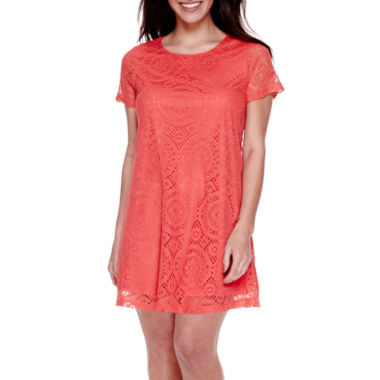jcpenney.com | DQT Short-Sleeve A Line Lace Sheath Dress - Petite
