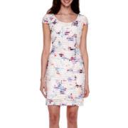Sangria Short-Sleeve Watercolor Sheath Dress - Petite