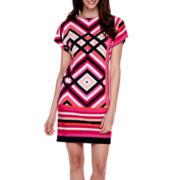 Studio 1® Short-Sleeve Diamond Print Shift Dress - Petite