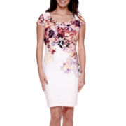 Sangria Short-Sleeve Placed Floral Sheath Dress - Petite