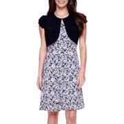 Perceptions Short-Sleeve Ruffled-Hem Jacket Dress - Petite