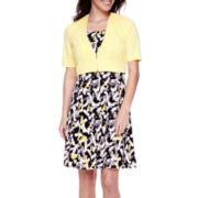 Perceptions Short-Sleeve Animal-Print Jacket Dress - Petite