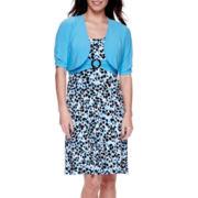 Perceptions Elbow-Sleeve Buckle Jacket Dress - Petite