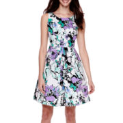 Be by CHETTA B Sleeveless Floral Fit-and-Flare Dress - Petite