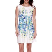 Studio 1® Sleeveless Floral-Print Lace Fit-and-Flare Dress - Petite
