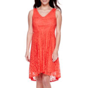 DR Collection Sleeveless Lace High-Low Fit-and-Flare Dress - Petite