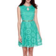 London Style Collection Cap-Sleeve Belted Fit-and-Flare Dress - Petite