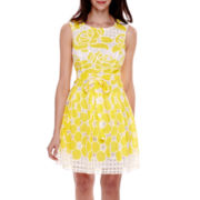 Robbie Bee® Sleeveless Belted Lace Burnout Fit-and-Flare Dress - Petite