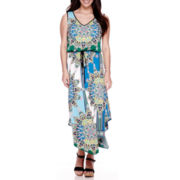 London Style Collection Sleeveless Floral Blouson Maxi Dress - Petite