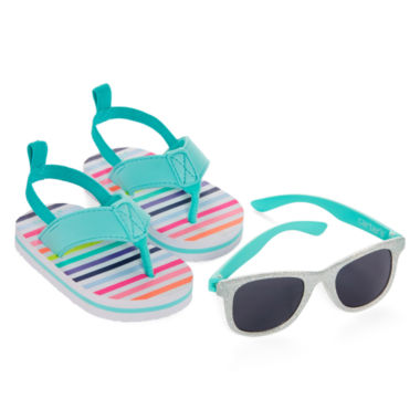 jcpenney.com | Carter's® Striped Sunglasses and Sandals Set - Baby Girls 3m-12m