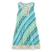 Arizona Sleeveless Vertical Print Swing Dress - Girls 7-16