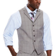 Collection by Michael Strahan Light-Gray Plaid Suit Vest - Classic Fit