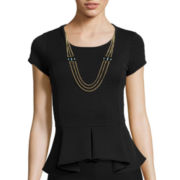 by&by Cap-Sleeve Hi-Low Peplum Necklace Top