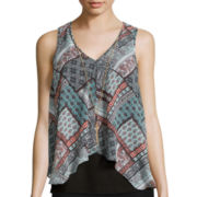 by&by Sleeveless Print Flyaway Necklace Top